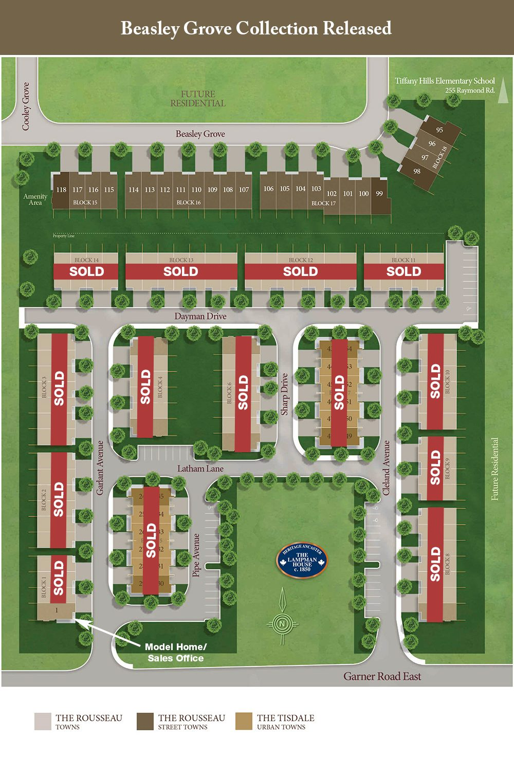 Garner Town Estates Site Plan showing SOLD Units and Beasley Grove Collection Released